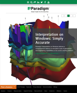 Tablet view of responsive Paradigm Website