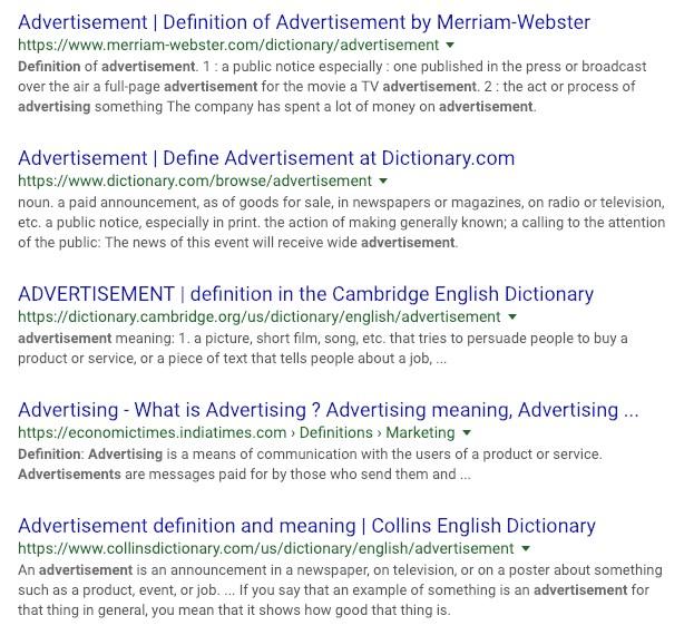 Advertisement definitions