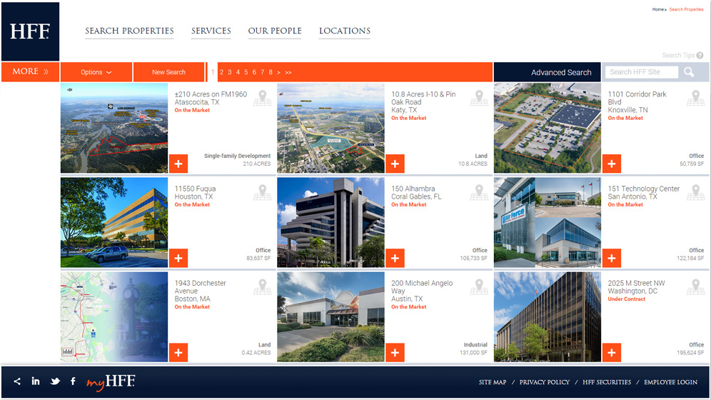 Website development by HexaGroup helped commercial real estate leader HFF provide owners and investors with information on properties and services.