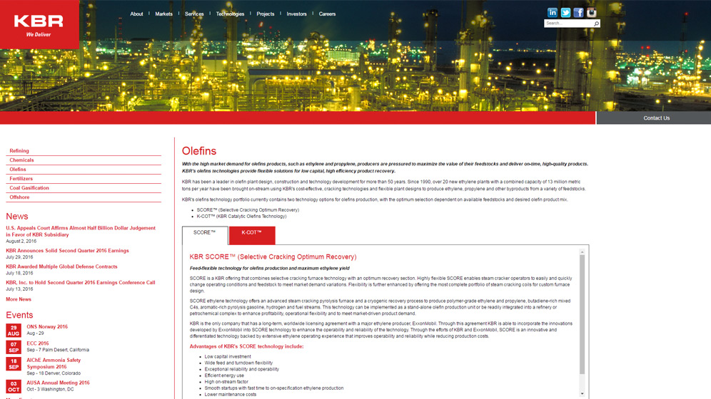 KBR Automation and Process Technologies (APT) is a services group of the global KBR engineering, procurement and construction company, that designs and constructs energy and petrochemical projects, while incorporating the latest and best process technology with value-added services. APT's services include Operator Training Simulators, Operations Management Systems, Technical Services, and Advanced Simulation.