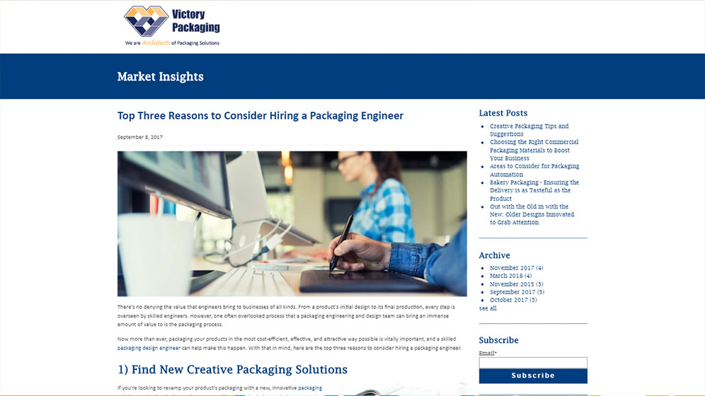 Through an impactful B2B inbound marketing campaign, HexaGroup helped Victory Packaging enhance brand awareness, improve search engine rankings and generate leads.